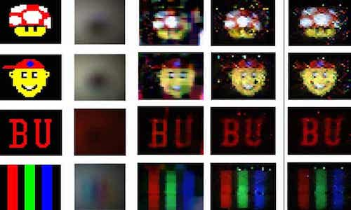 A grid of images showing visuals created by the computational periscopy program.